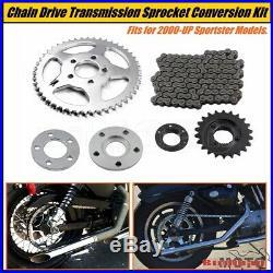 Drive Transmission Sprocket Chain Conversion Kit For Harley Sportster XL 2000-UP
